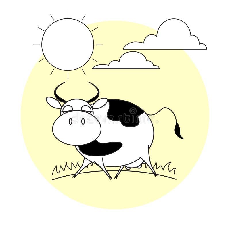 Leuke het lopen koe Gras, zon en wolken stock fotografie