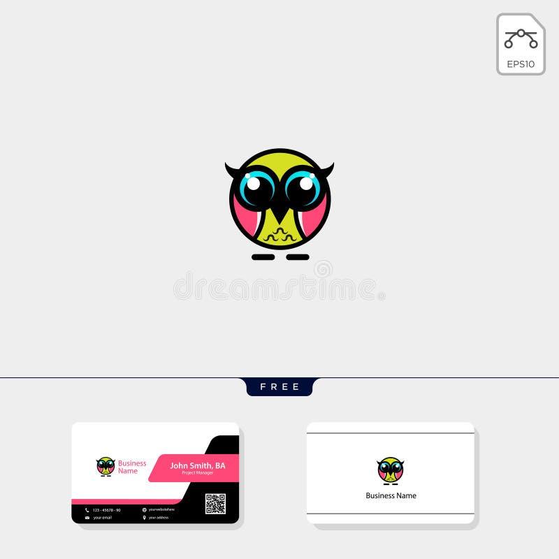 leuke het malplaatje vectorillustratie van het uil creatieve embleem, vrije adreskaartjeontwerpsjabloon royalty-vrije illustratie