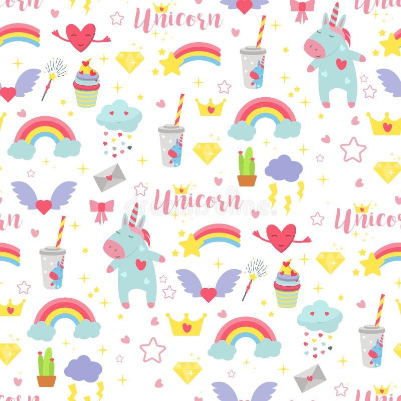 Leuke het patroon van de van de achtergrond eenhoornbaby vector naadloze van de de fantasiefee illustratie magische regenboog het stock illustratie