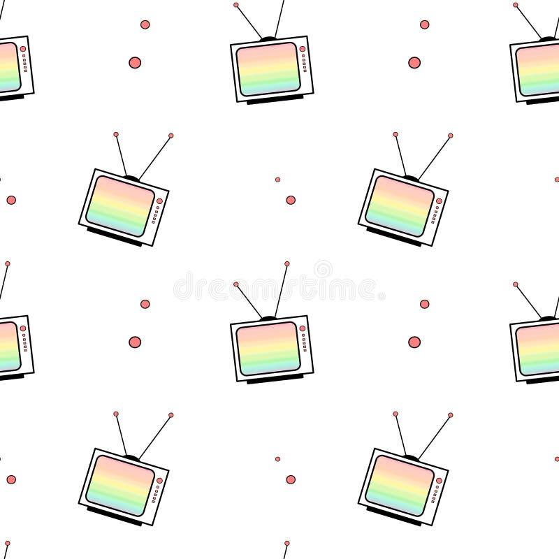 Leuke het patroon van TV van de beeldverhaalregenboog naadloze illustratie als achtergrond royalty-vrije illustratie