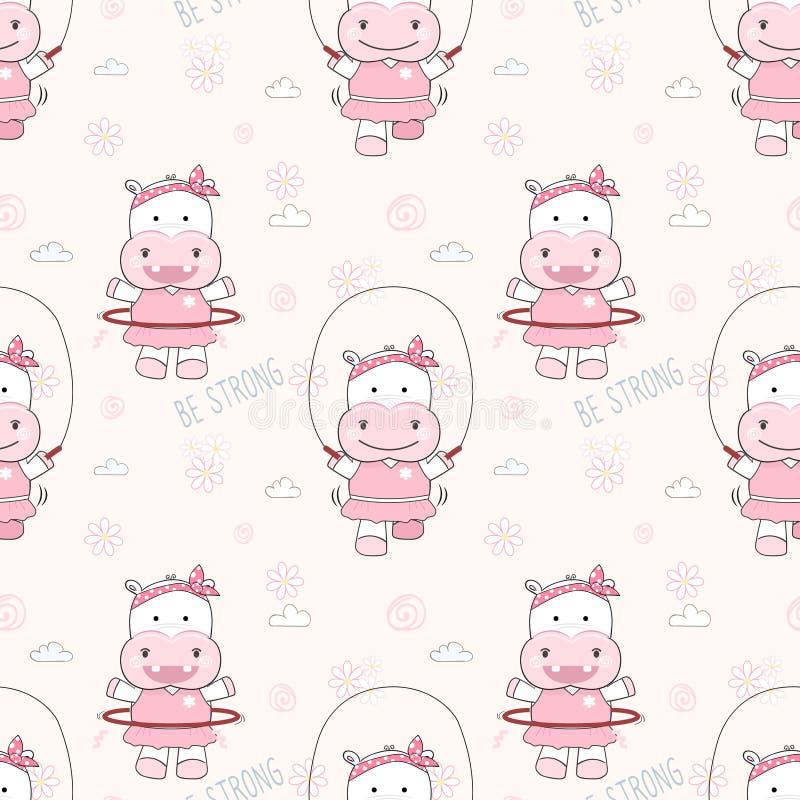 Leuke hippo die de naadloze achtergrond van het patroonbeeldverhaal exerciseing vector illustratie