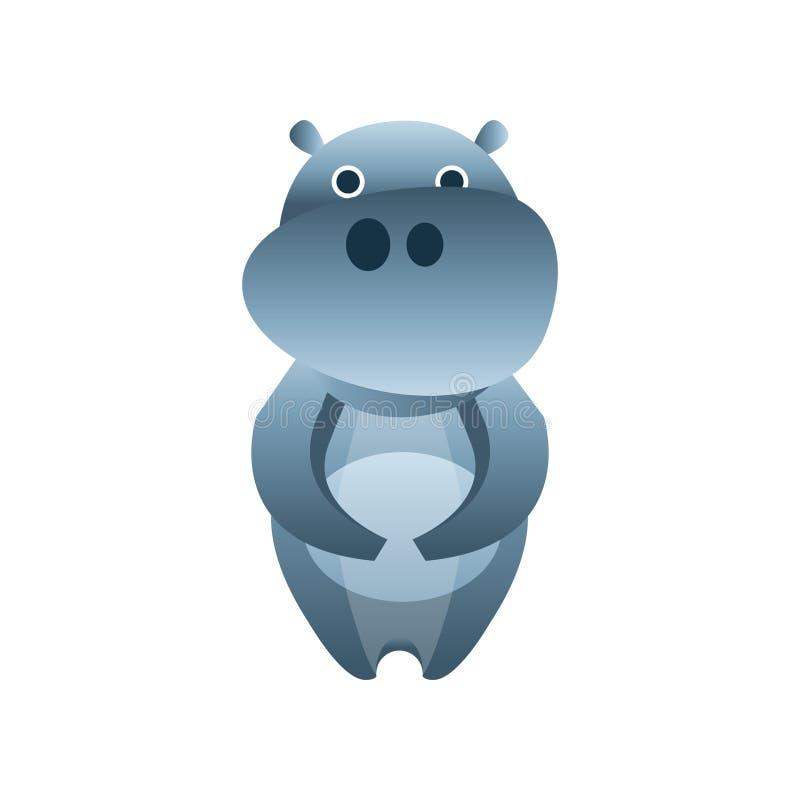 Leuke hippo, gestileerde geometrische dierlijke lage polyontwerp vectorillustratie stock illustratie