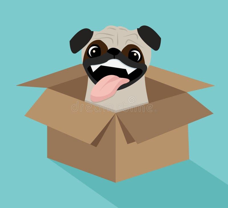 Leuke hond in de doos vector illustratie