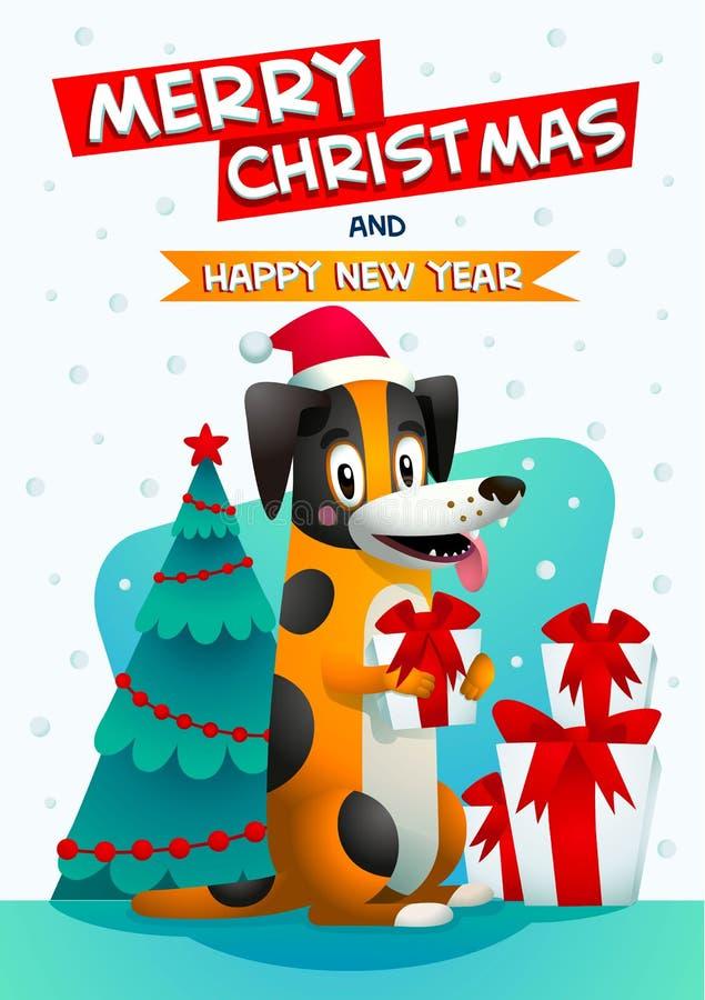 Leuke hond met Vrolijke Kerstmis en Gelukkige nieuwe jaarinschrijving Modieuze gele hond met de rode hoed van de Kerstman en gift stock illustratie