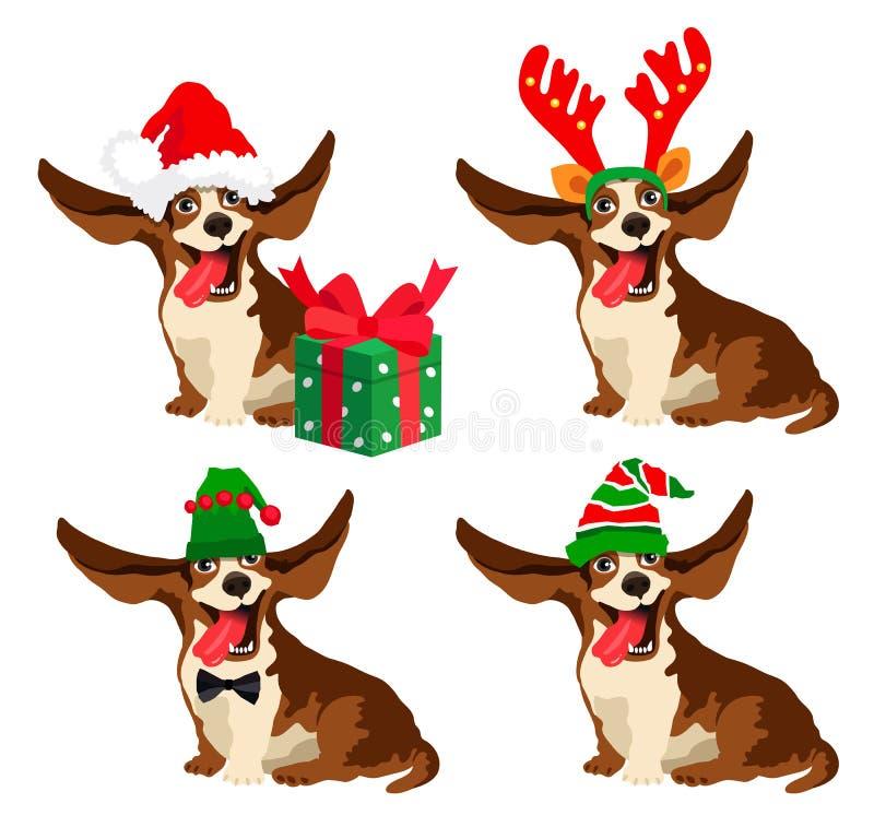 Leuke hond in Nieuwjaar` s hoeden vector illustratie