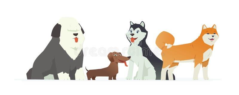 Leuke honden - de moderne vectorillustratie van beeldverhaalkarakters royalty-vrije illustratie