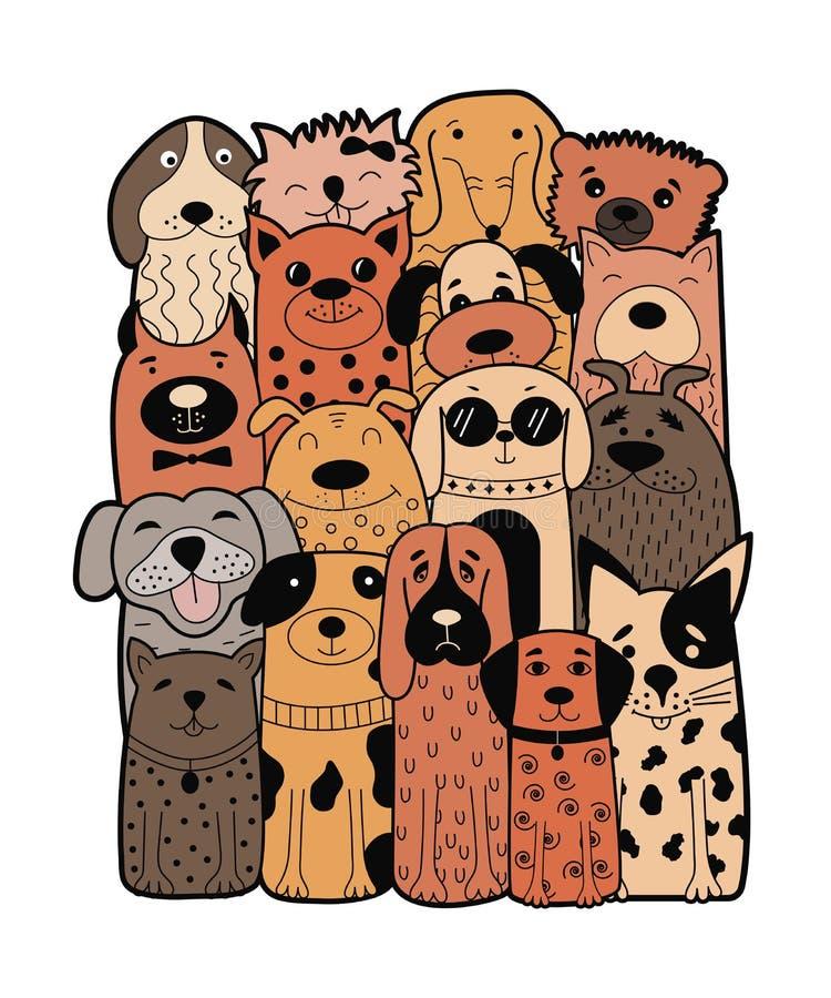 Leuke honden, krabbelstijl Grappige dieren vector illustratie