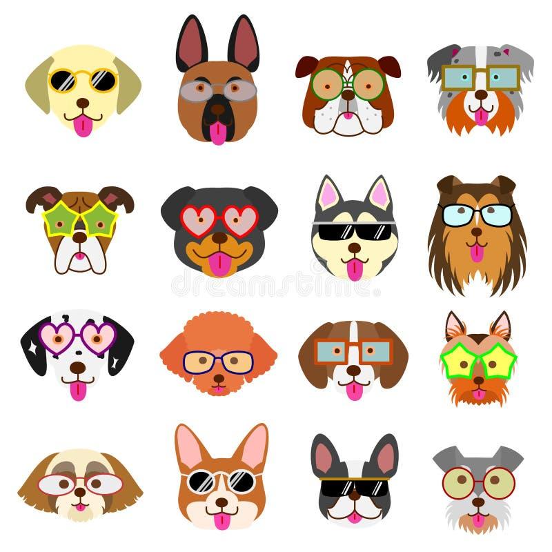 Leuke hondengezichten met geplaatste glazen stock illustratie