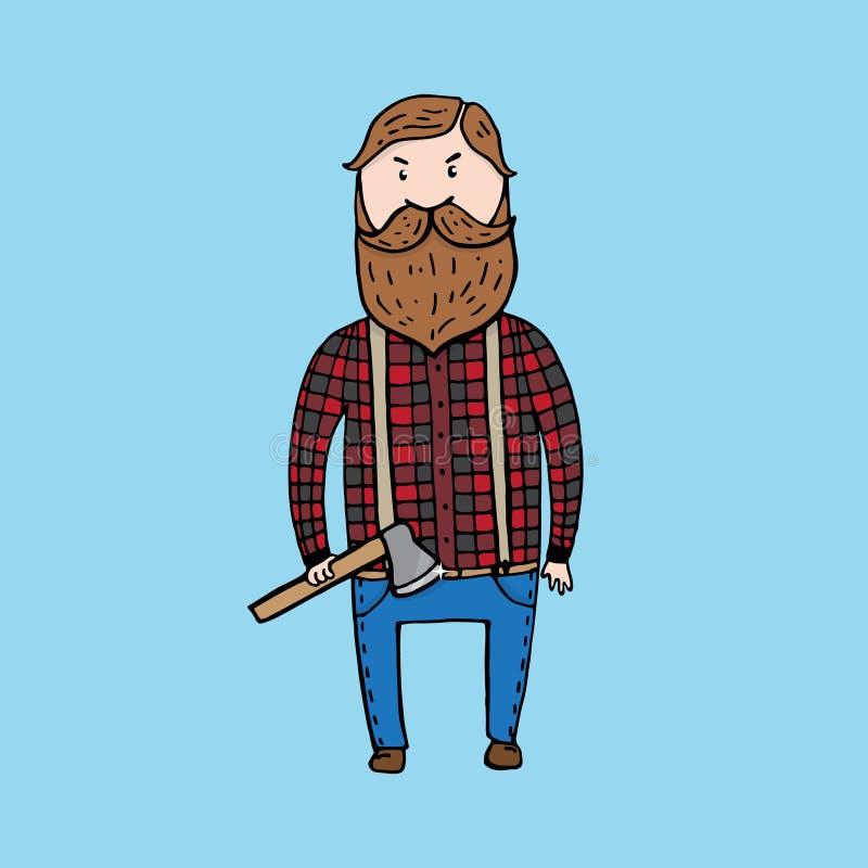 Leuke houthakker met een bijl royalty-vrije illustratie