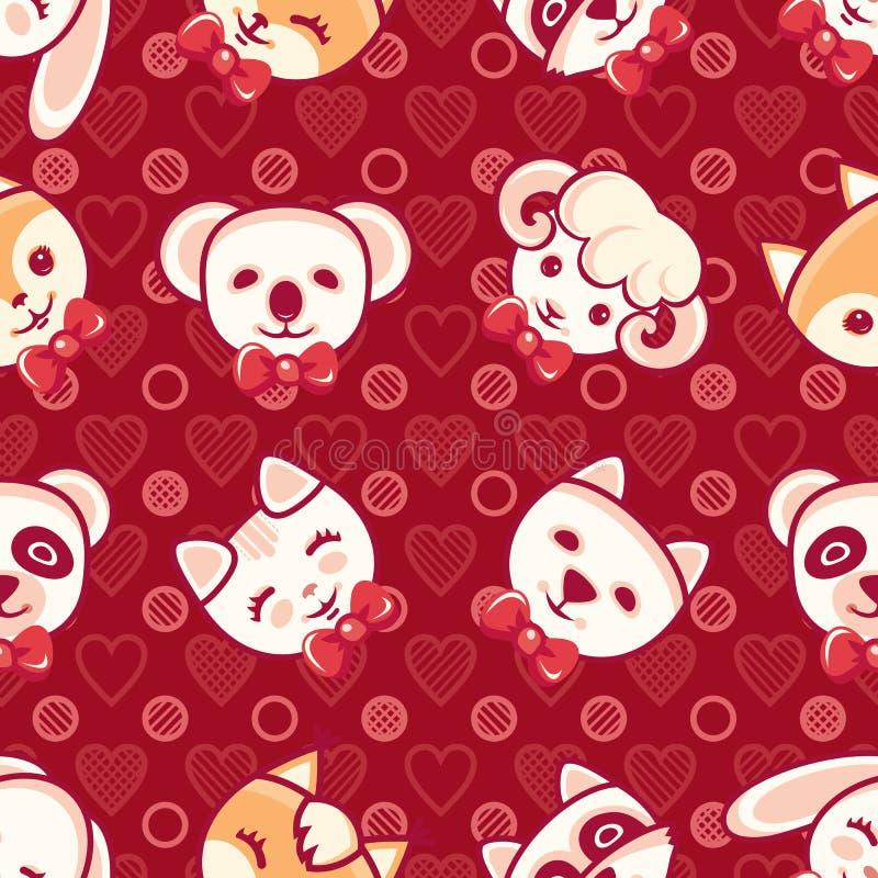 Leuke huisdieren Naadloos patroon Kleurrijke achtergrond met karakters royalty-vrije illustratie
