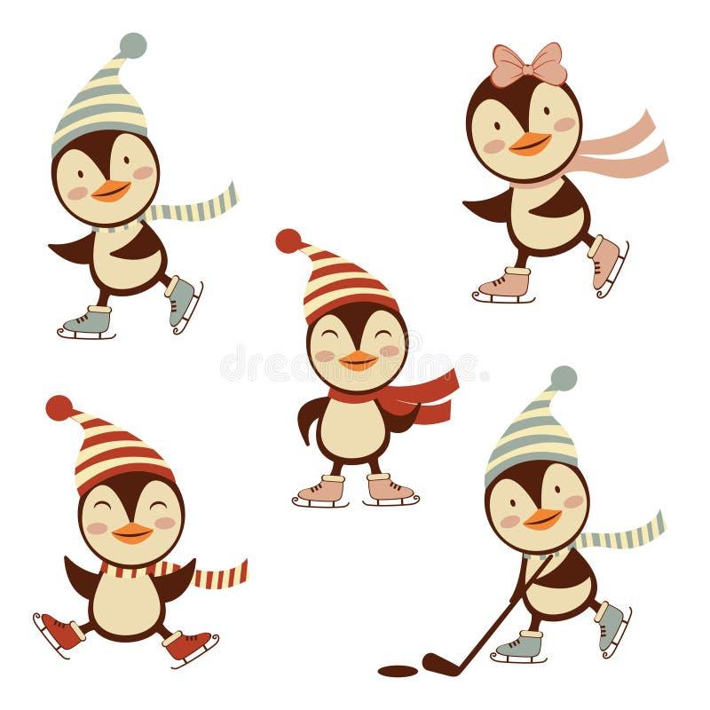 Leuke ijs het schaatsen pinguïneninzameling stock illustratie