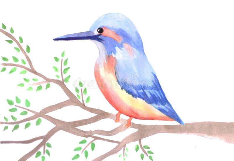 Leuke Ijsvogel op een boomtak vector illustratie