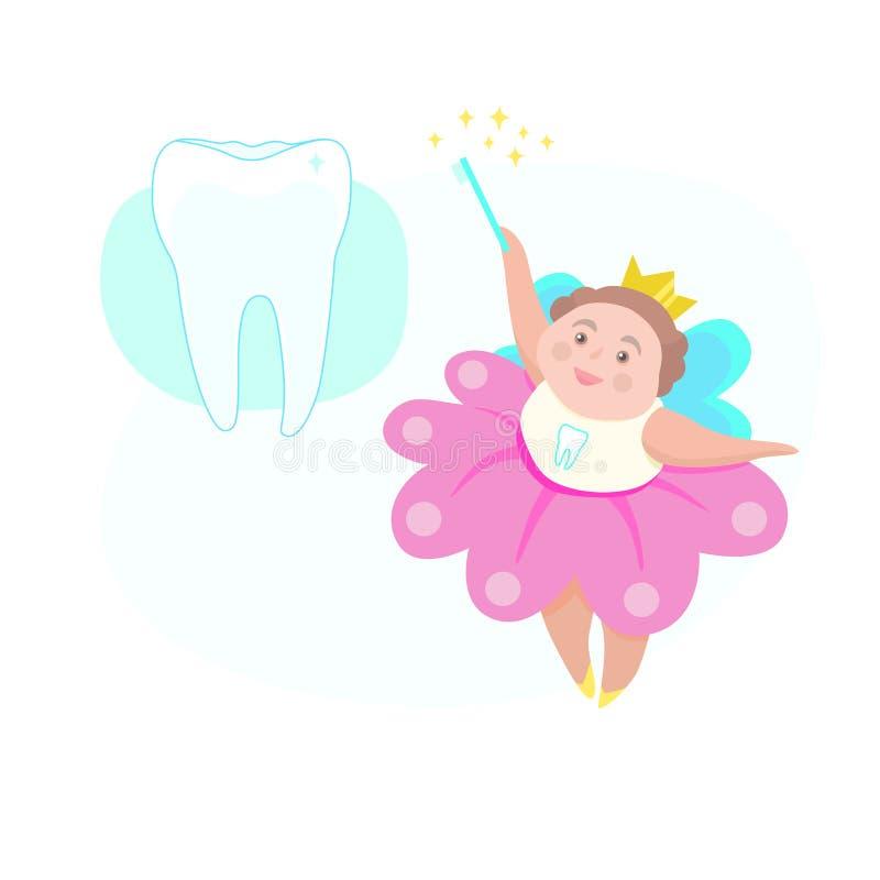 Leuke illustratie met vliegende glimlachende tandfee en tanden Vector de kunstconcept van de kinderen` s tandheelkunde in beeldve stock illustratie