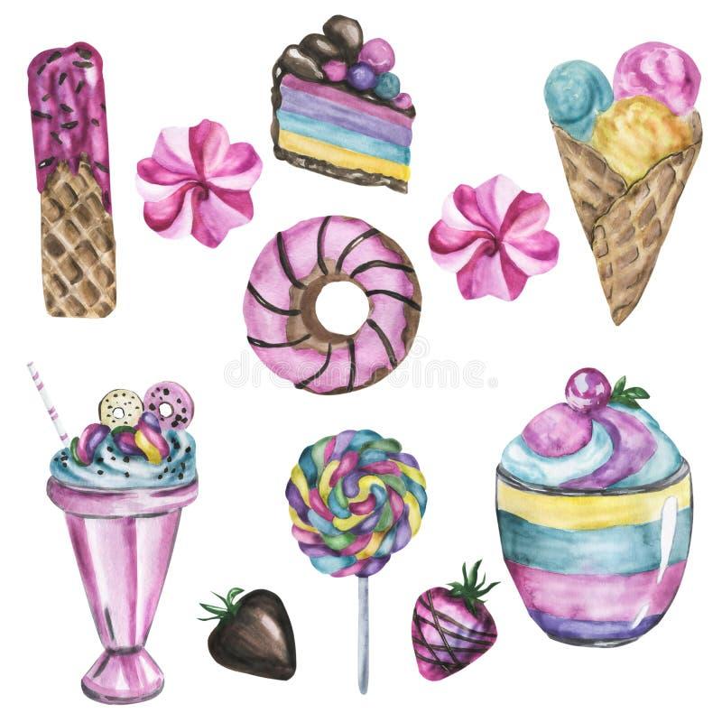 Leuke illustratie van fruit en dessert, waterverf stock fotografie