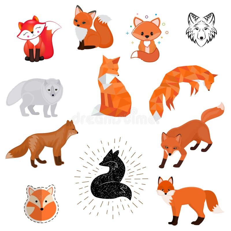 Leuke illustratie van het vos isoleerde de vectorbeeldverhaal van dierlijk wild embleem, vlak, het wild foxy baby van het schetso royalty-vrije illustratie