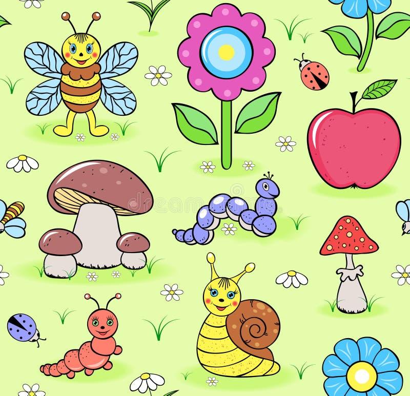Leuke insecten op de zomerweide royalty-vrije illustratie