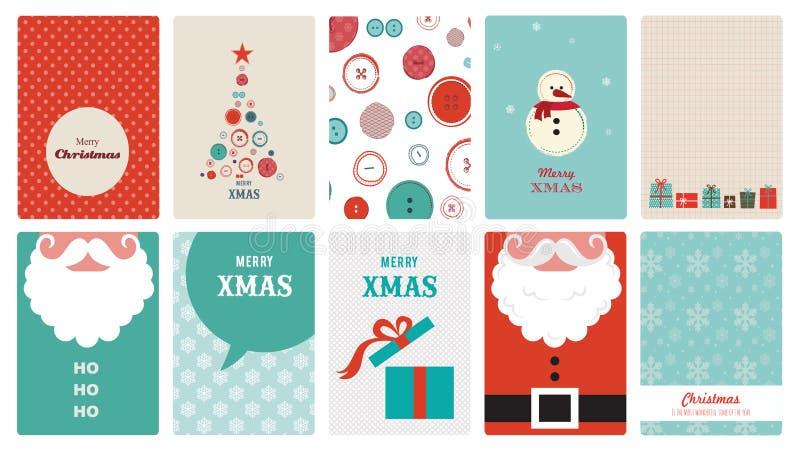 Leuke inzameling van uitstekende Kerstmisgroet royalty-vrije illustratie