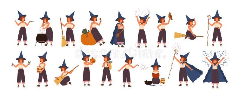 Leuke inzameling van weinig heks in hoed die op bezem vliegen, makend wondermiddel in pot, die boeken lezen Reeks met meisje stock illustratie