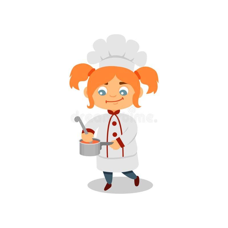 Leuke jong geitje kokende soep of saus Grappig meisje met paardestaarten in eenvormige chef-kok Vlak vectorontwerp royalty-vrije illustratie