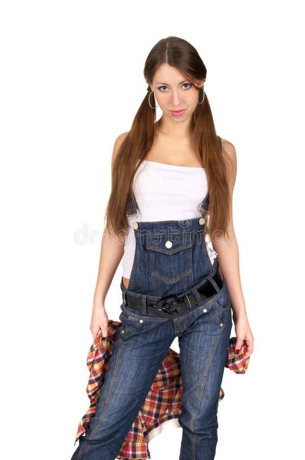 Leuke jonge dame in jeans globaal stock afbeeldingen