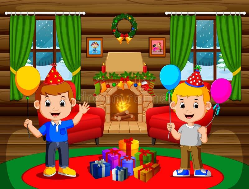 Leuke jonge geitjes in de woonkamer tijdens Kerstmis stock illustratie