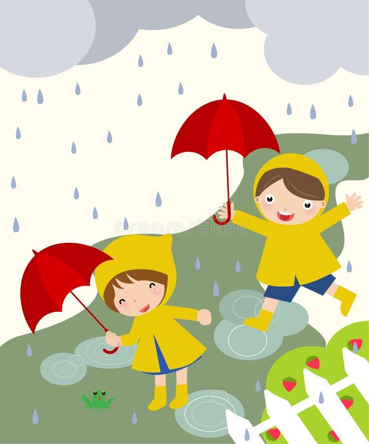 Leuke jonge geitjes die in de regen spelen royalty-vrije illustratie