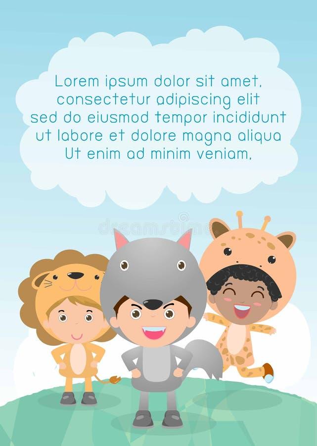Leuke jonge geitjes die dierlijke kostuums, Malplaatje voor reclamefolder, uw tekst, Leuke kleine Kinderen met dierenkostuum drag royalty-vrije illustratie