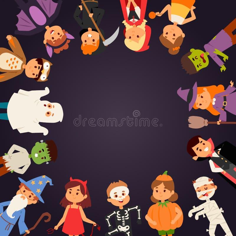 Leuke jonge geitjes die Halloween-de vector van partijkostuums dragen royalty-vrije illustratie