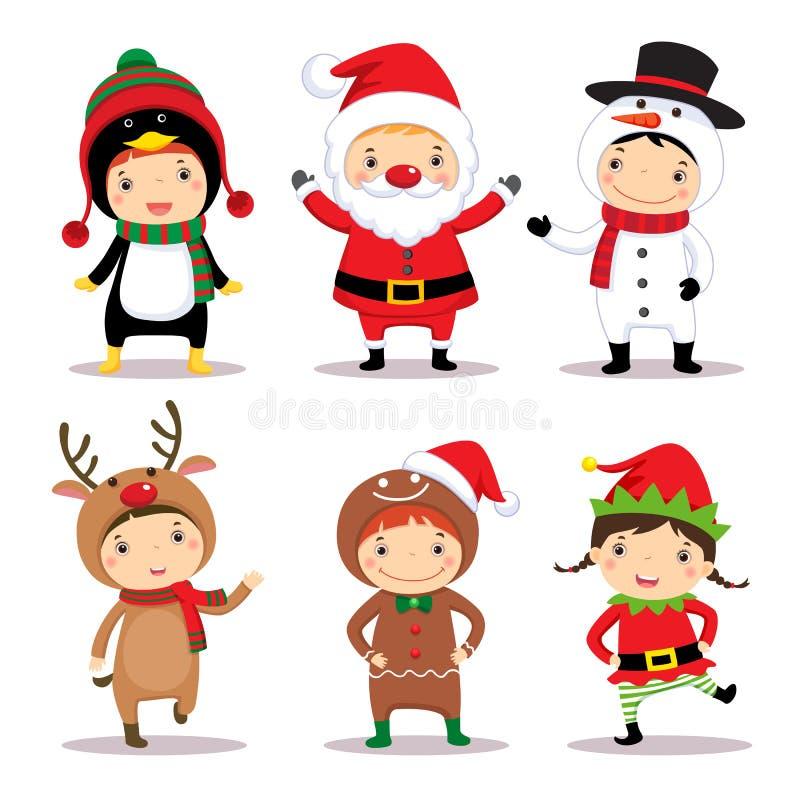 Leuke jonge geitjes die Kerstmiskostuums dragen vector illustratie