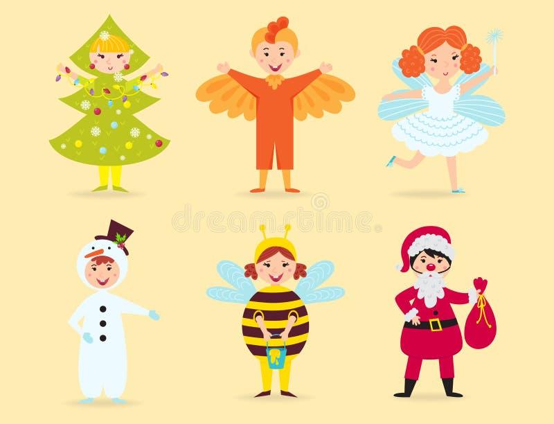 Leuke jonge geitjes die van de karakters kleine mensen van Kerstmiskostuums de vectorillustratie van de de kinderenvakantie vroli vector illustratie