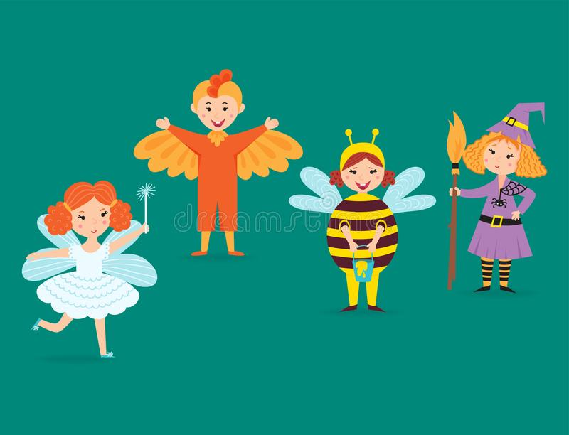 Leuke jonge geitjes die van de karakters kleine mensen van Kerstmiskostuums de vectorillustratie van de de kinderenvakantie vroli stock illustratie