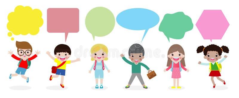 Leuke jonge geitjes met toespraakbellen, Reeks diverse kinderen en Verschillende die nationaliteiten met toespraakbellen op witte royalty-vrije illustratie