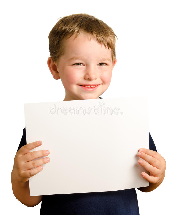 Leuke jonge gelukkige kleuterjongen die teken steunt royalty-vrije stock afbeelding