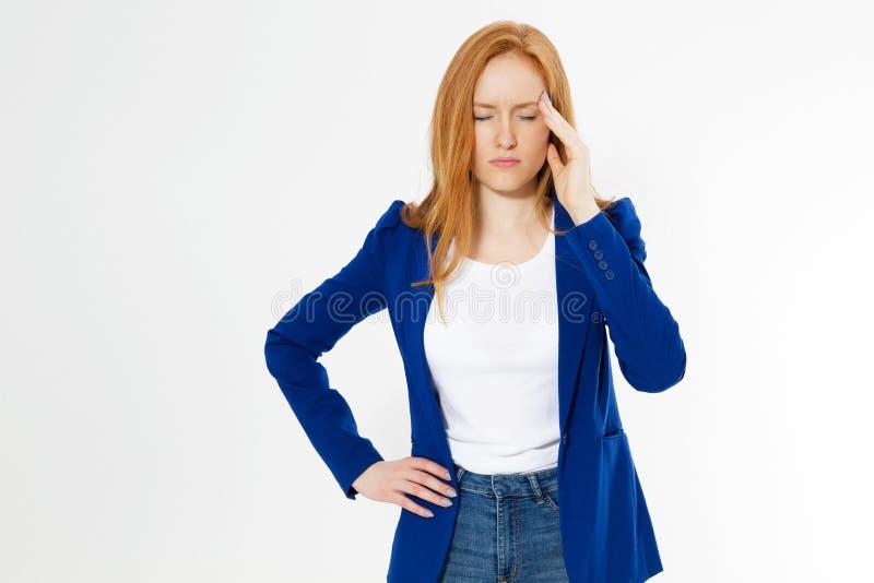 Leuke, jonge mooie rode hair woman do facepalm Het roodharige lijdt meisjes aan hoofdpijn die er niet in om is geslaagd om bedrij royalty-vrije stock foto's
