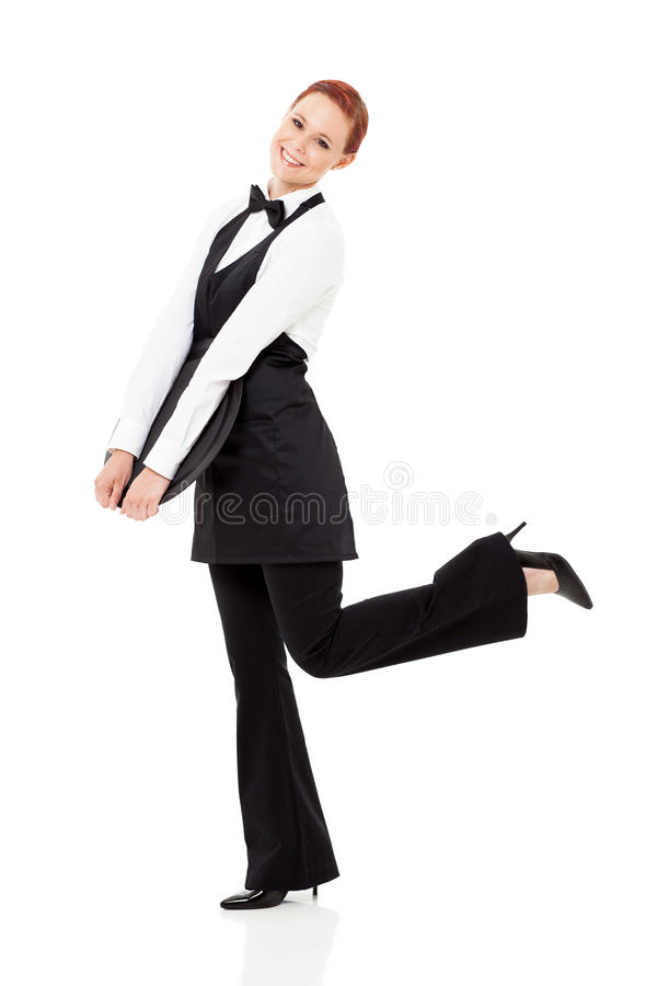 Leuke jonge serveerster stock foto