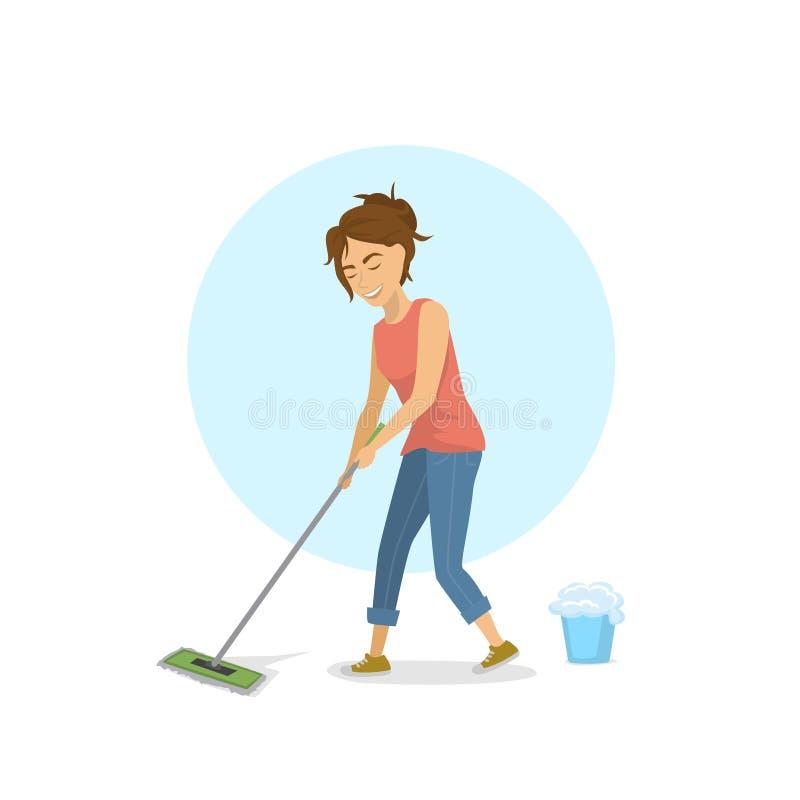 Leuke jonge vrouw die dweilend vloer, huishoudenkarweien schoonmaken royalty-vrije illustratie