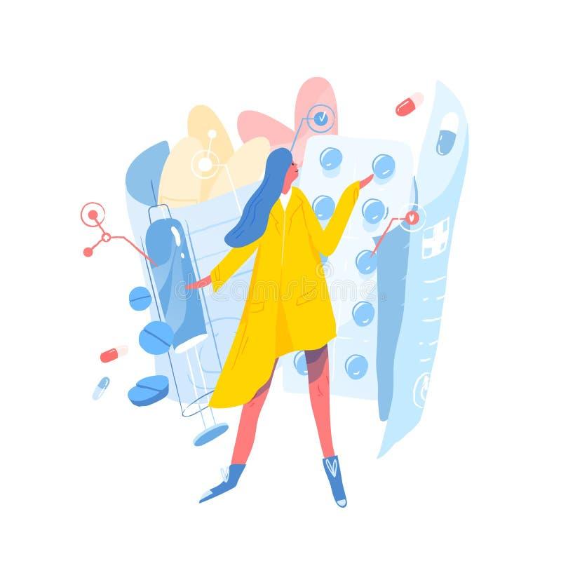 Leuke jonge vrouw die zich tegen blaren met pillen, voorschriftdrugs, tabletten of medicijnen bevinden Concept remedie royalty-vrije illustratie