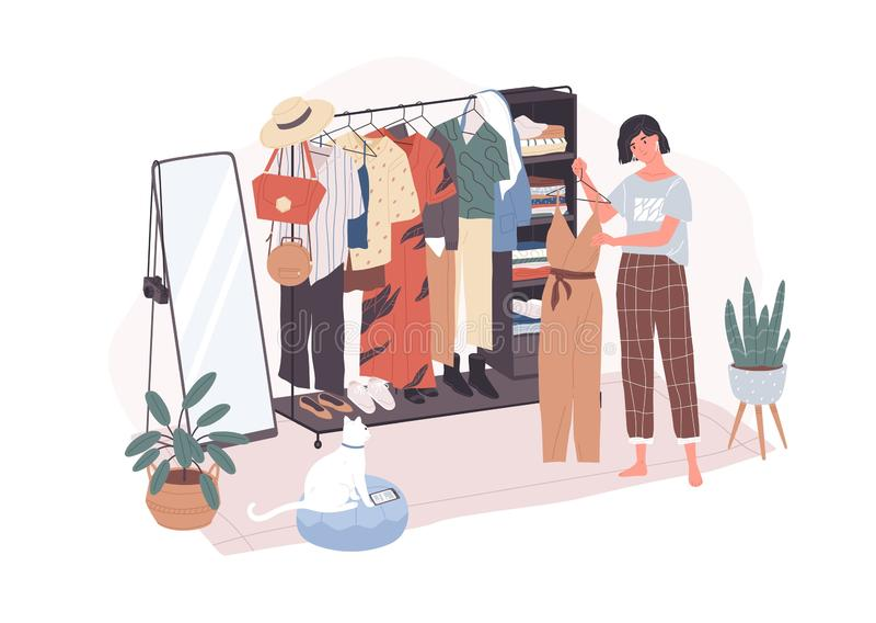 Leuke jonge vrouw die zich voor hangerrek bevinden en uitrusting proberen te kiezen Glimlachend meisje in kleedkamer grappig stock illustratie