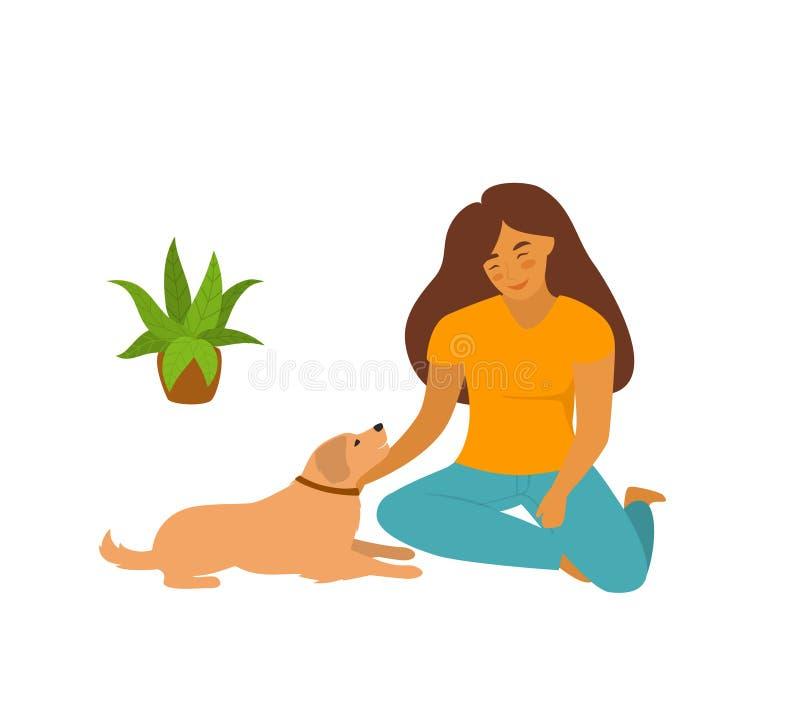 Leuke jonge vrouwenzitting met haar huisdierenhond op de vloer thuis vector illustratie