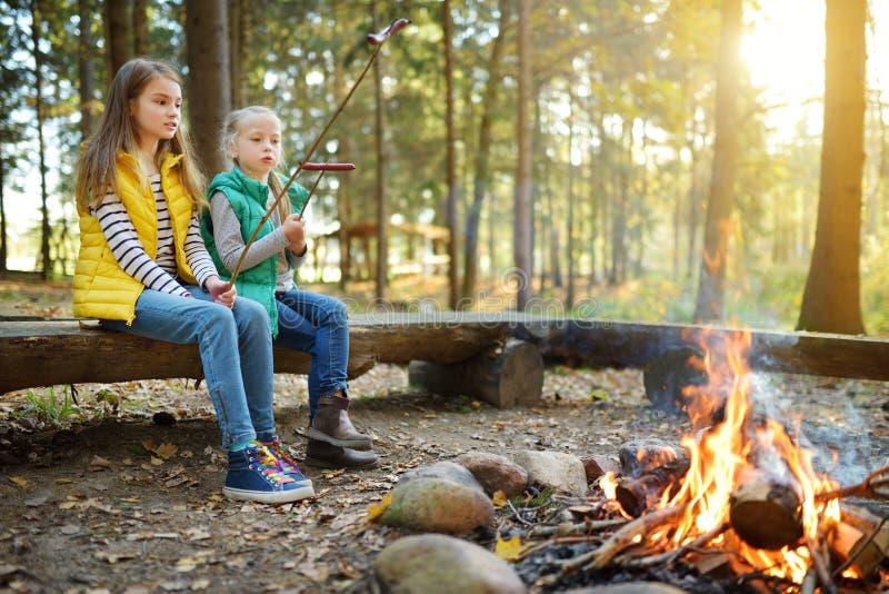 Leuke jonge zusters die hotdogs op stokken roosteren bij vuur Kinderen die pret hebben bij kampbrand Het kamperen met jonge geitj stock foto