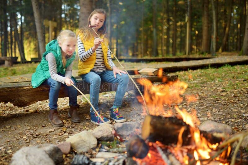Leuke jonge zusters die hotdogs op stokken roosteren bij vuur Kinderen die pret hebben bij kampbrand Het kamperen met jonge geitj royalty-vrije stock afbeeldingen