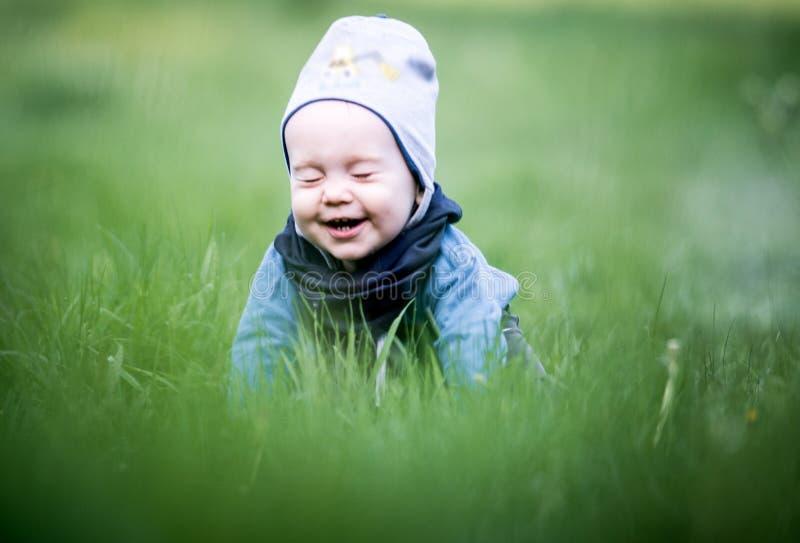 Leuke jongen in de lentegras stock foto's