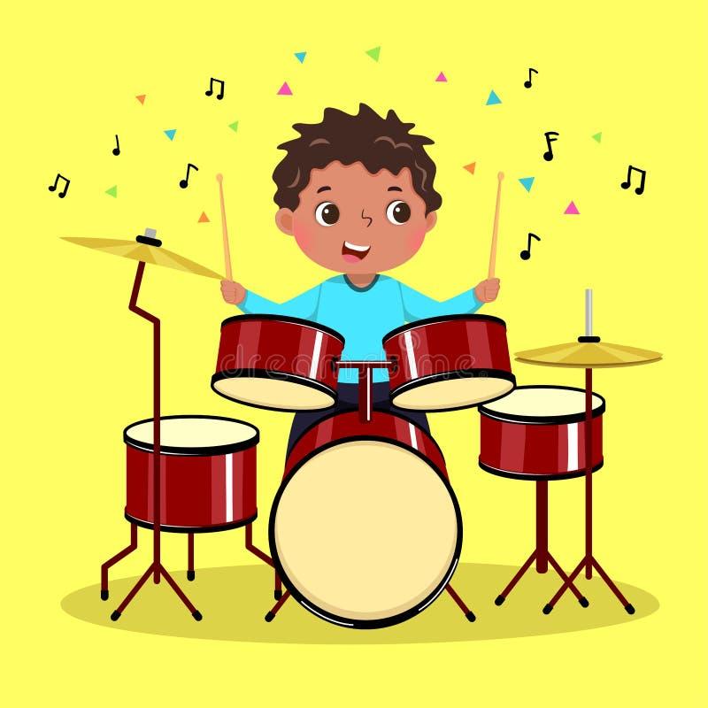 Leuke jongen die de trommel op gele achtergrond speelt vector illustratie