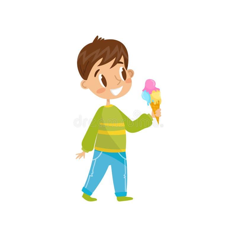 Leuke jongen die de vectorillustratie van de roomijskegel op een witte achtergrond eten vector illustratie