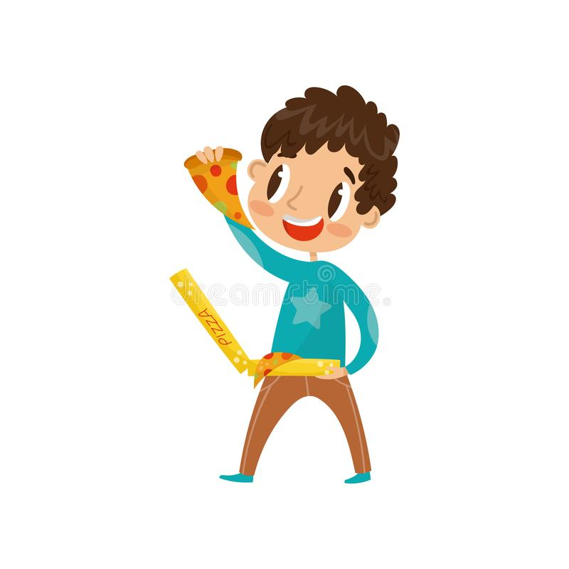 Leuke jongen die pizza vectorillustratie op een witte achtergrond eten stock illustratie
