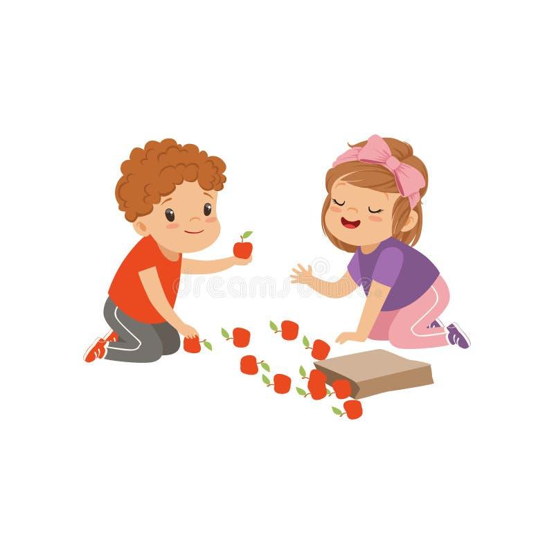 Leuke jongen en meisjeszitting op de vloer en het spelen met appelen, jonge geitjes die fruit vectorillustratie op een wit delen stock illustratie