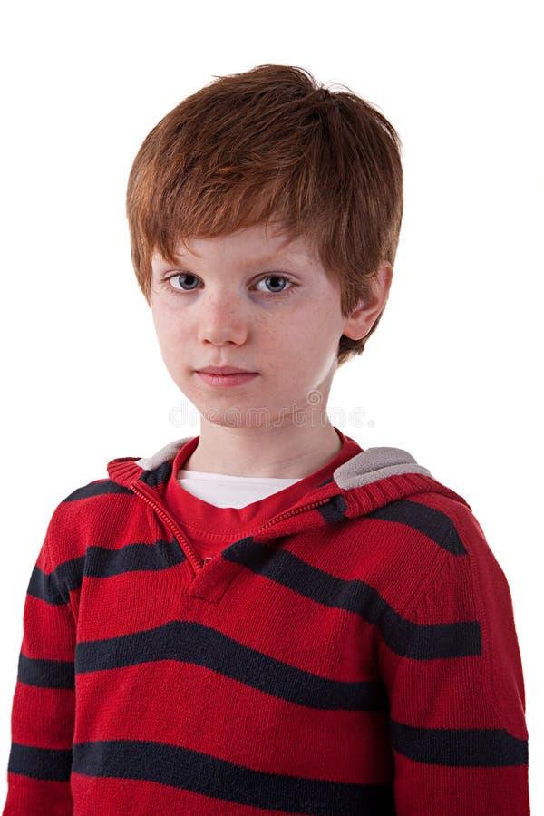 Leuke Jongen, met droevige blik stock foto