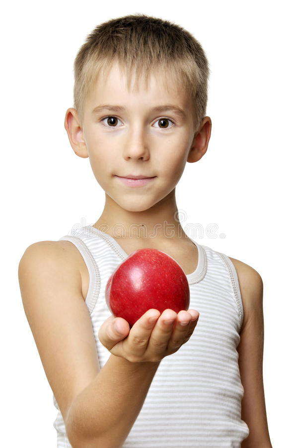 Leuke jongen met rode appel royalty-vrije stock foto