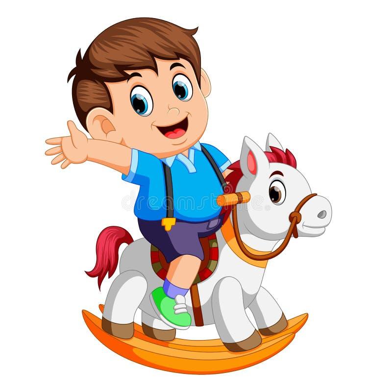 Leuke jongen op een stuk speelgoed paard vector illustratie