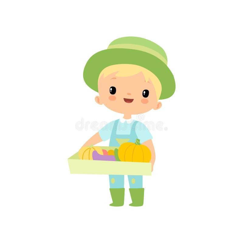 Leuke Jongen in Overall, Rubberlaarzen en de Dooshoogtepunt van de Hoedenholding van Verse Groenten, Jonge Landbouwer Cartoon Cha stock illustratie